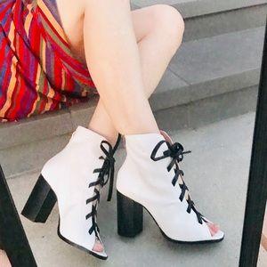 Kristin Cavallari white Leather ankle BOOT bootie